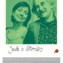 """""""Jack's Stories"""", Storytelling mit Jack Lynch und Suse Weisse in Potsdam, 8.11.2019 um 20 h"""